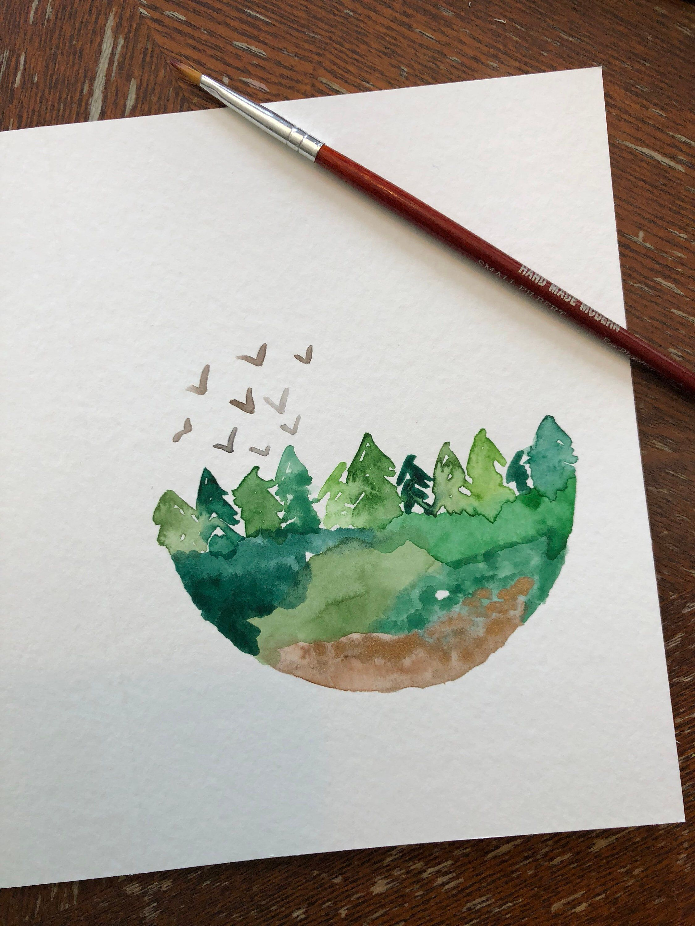forest watercolor blank card handmade watercolor card simple watercolor christmas cards watercolor cards christmas drawing forest watercolor blank card handmade