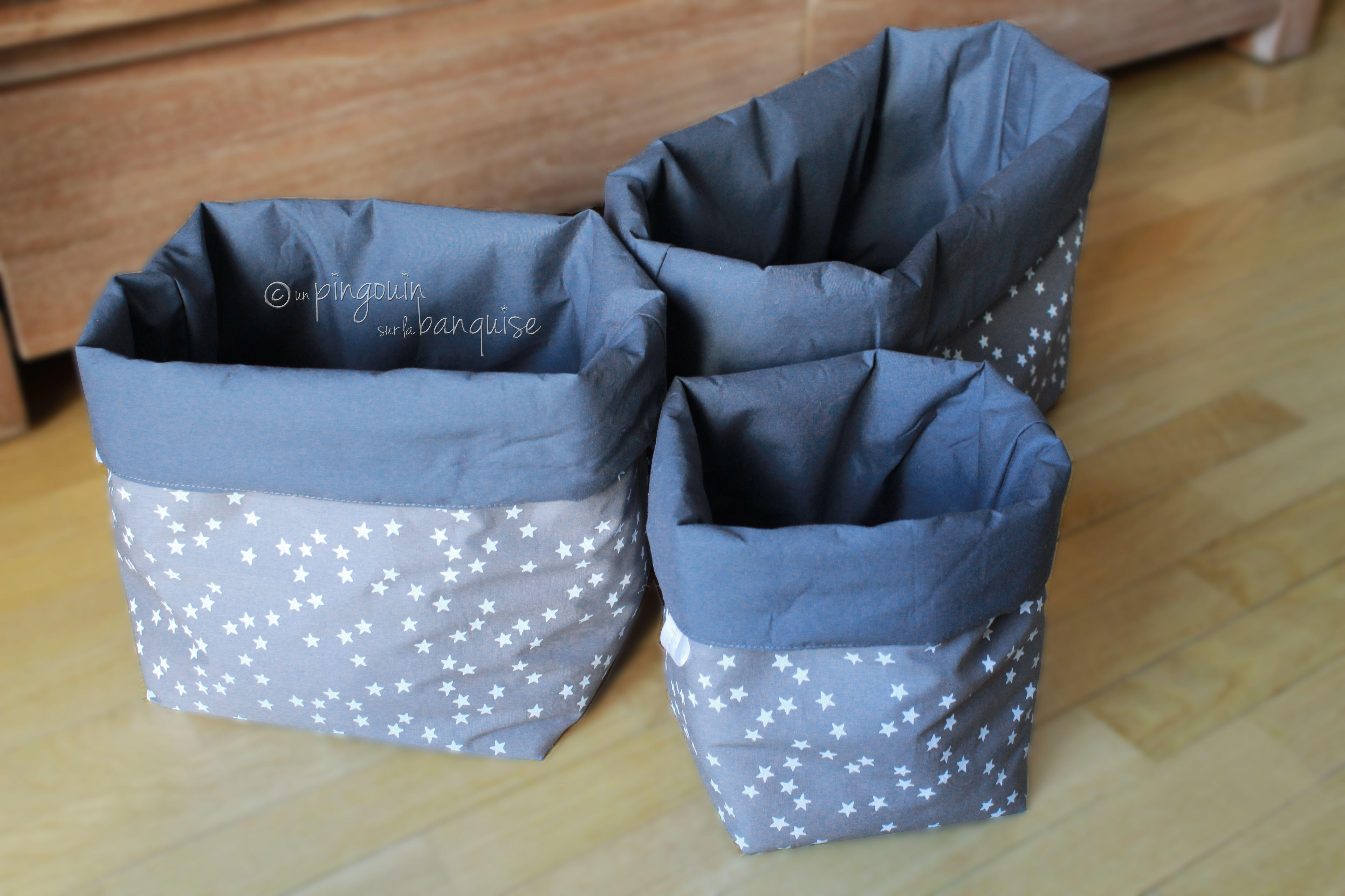 pochons r versibles gris toil s un pingouin sur la. Black Bedroom Furniture Sets. Home Design Ideas