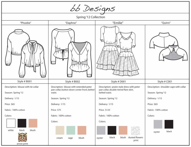 Fashion Line Sheet Template Success Wnglghi  Fashion Tech Packs