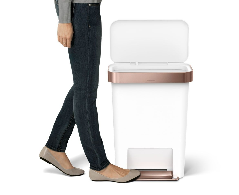 45l Rectangular Rose Gold White Plastic Step Trash Can W Liner Pocket Simplehuman Rectangular Liner