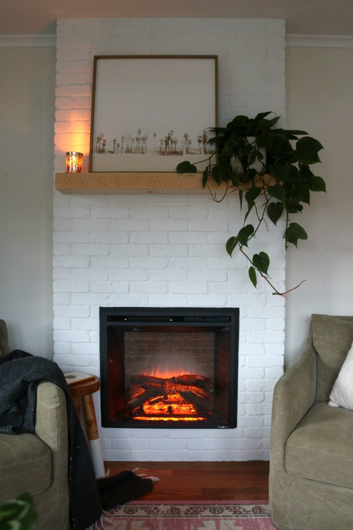 fireplace reveal our electric brick fireplace diy projects rh pinterest com