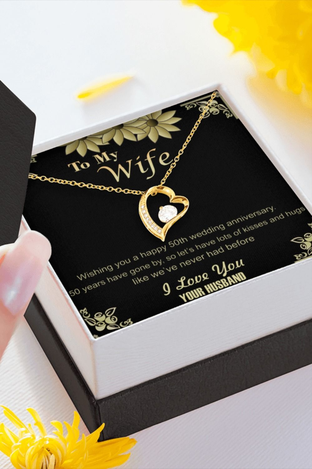 Pin On 50th Wedding Anniversary Gold Necklace Gift Ideas