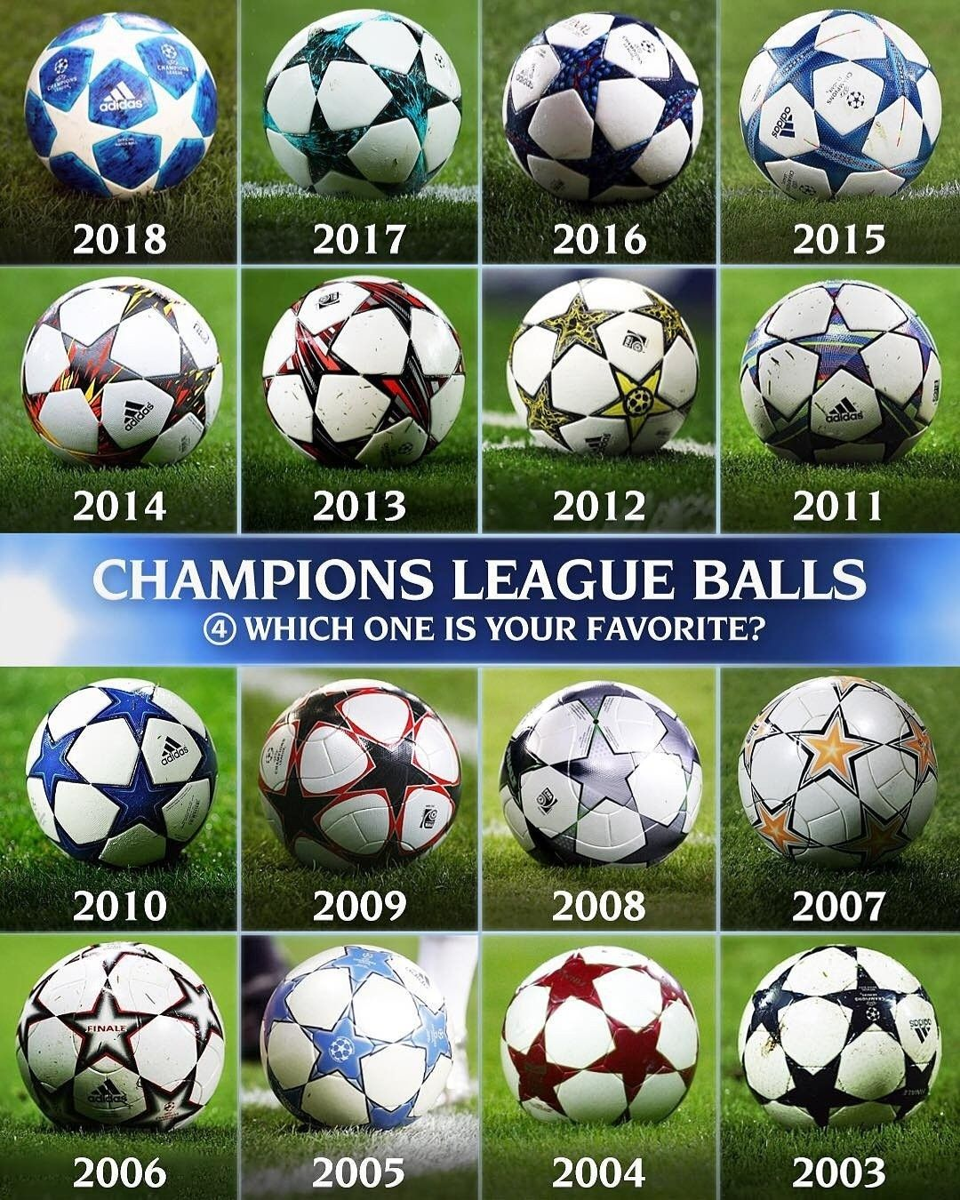 Champions League Balls Trough The Last Years Champions League League Football