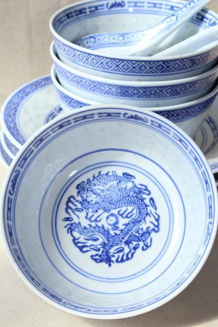 4 Vintage Chinese Porcelain Rice Eye Grain Pattern Dinner Plates