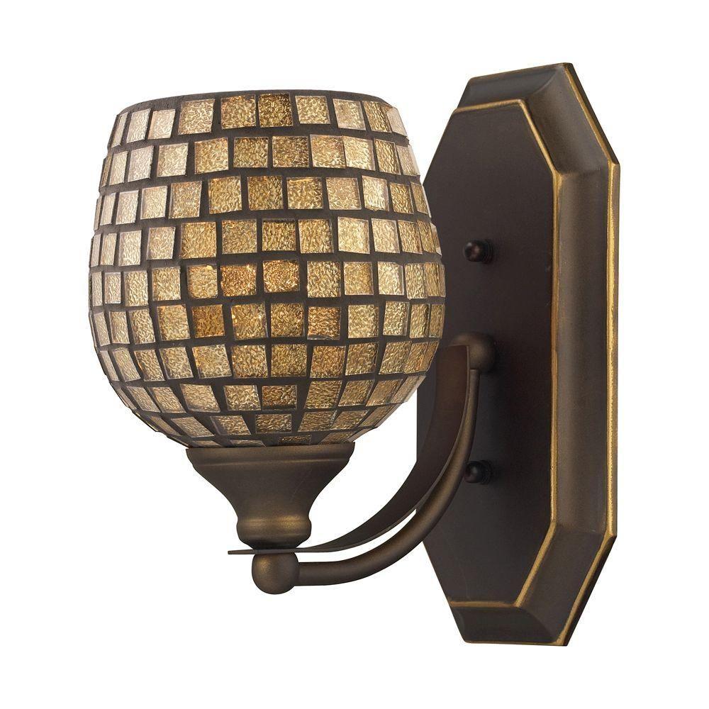 Titan Lighting 1-Light Aged Bronze Wall Mount Vanity Light | Wall ...
