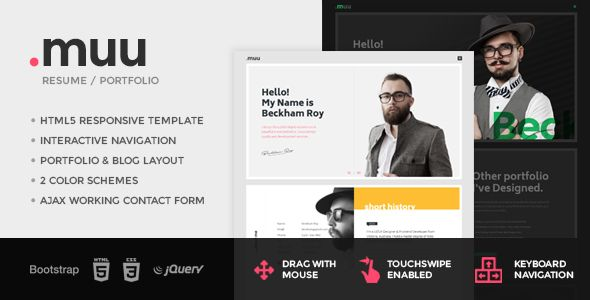 Muu  Unique And Creative Resume  Portfolio Template  Muu Is A
