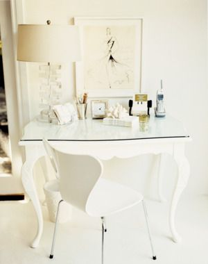 White and beige color scheme for the home office.   http://domino.com