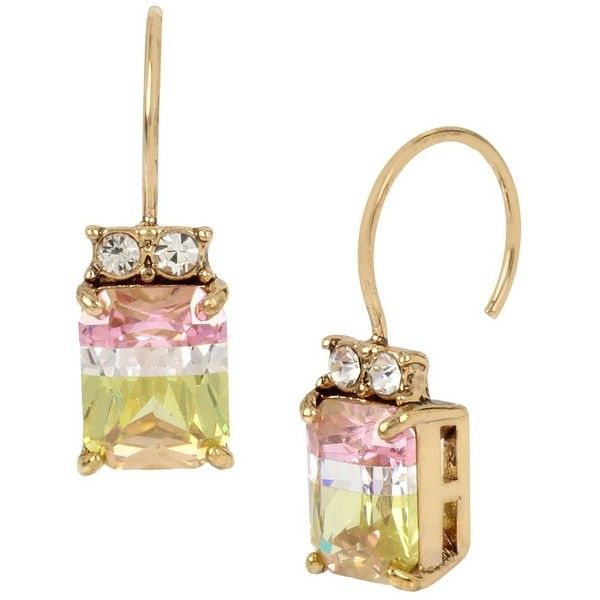 Betsey Johnson Marie Antoinette Watermelon Drop Earring (270 HKD) ❤ liked on Polyvore featuring jewelry, earrings and multi