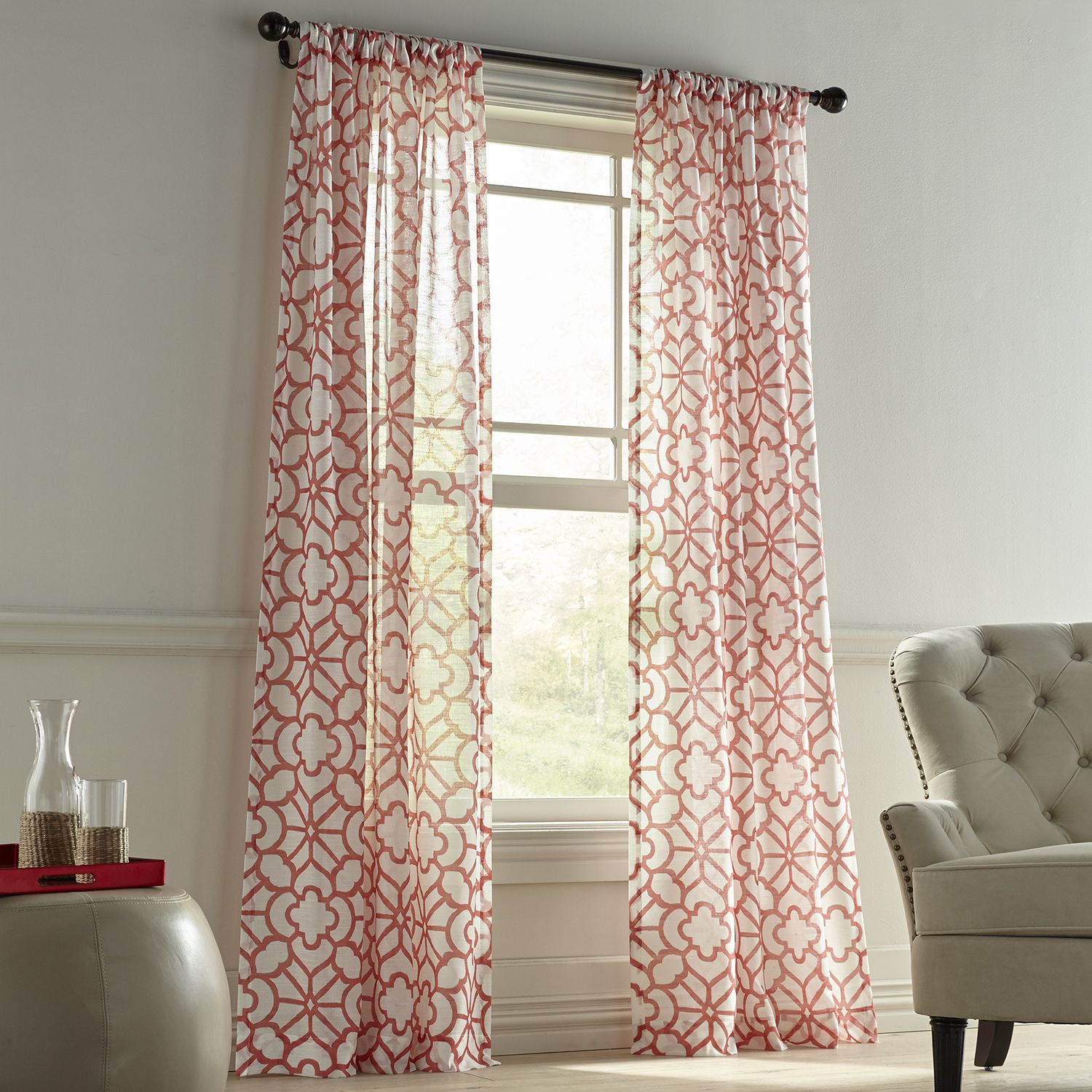 To Continue With The Coral Theme I Went With This Fun Pattern To Lighten The Feel Of The Room Panel Curtains Curtains Coral Curtains