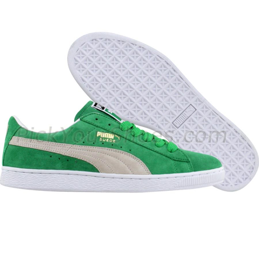 Puma Suede 10 (kelly green / white / metallic gold) Shoes