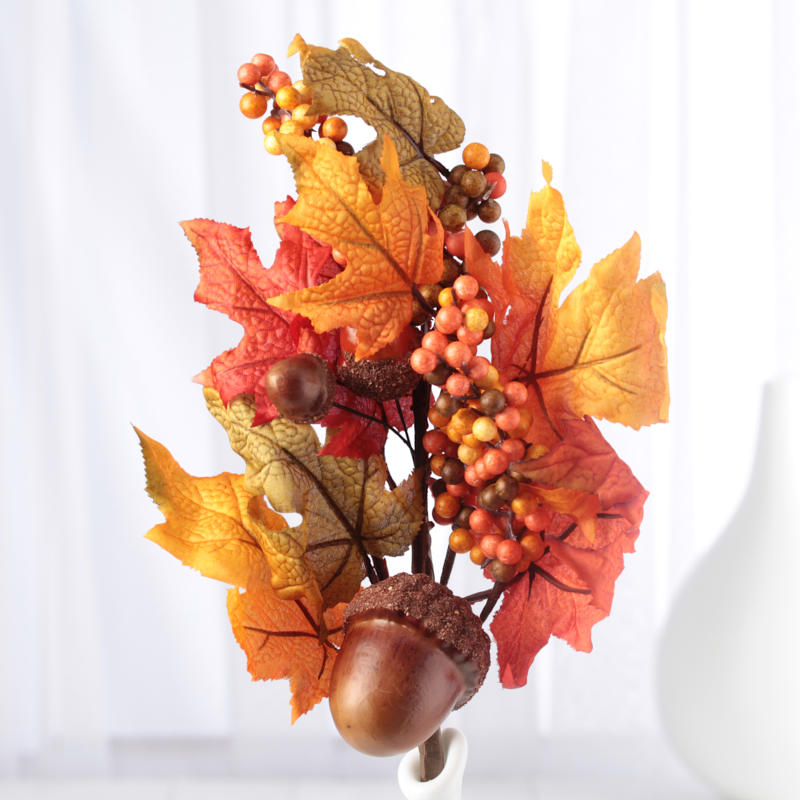 Autumn Halloween Decorations Artificial Maple Leaf and Acorn Candle Ring