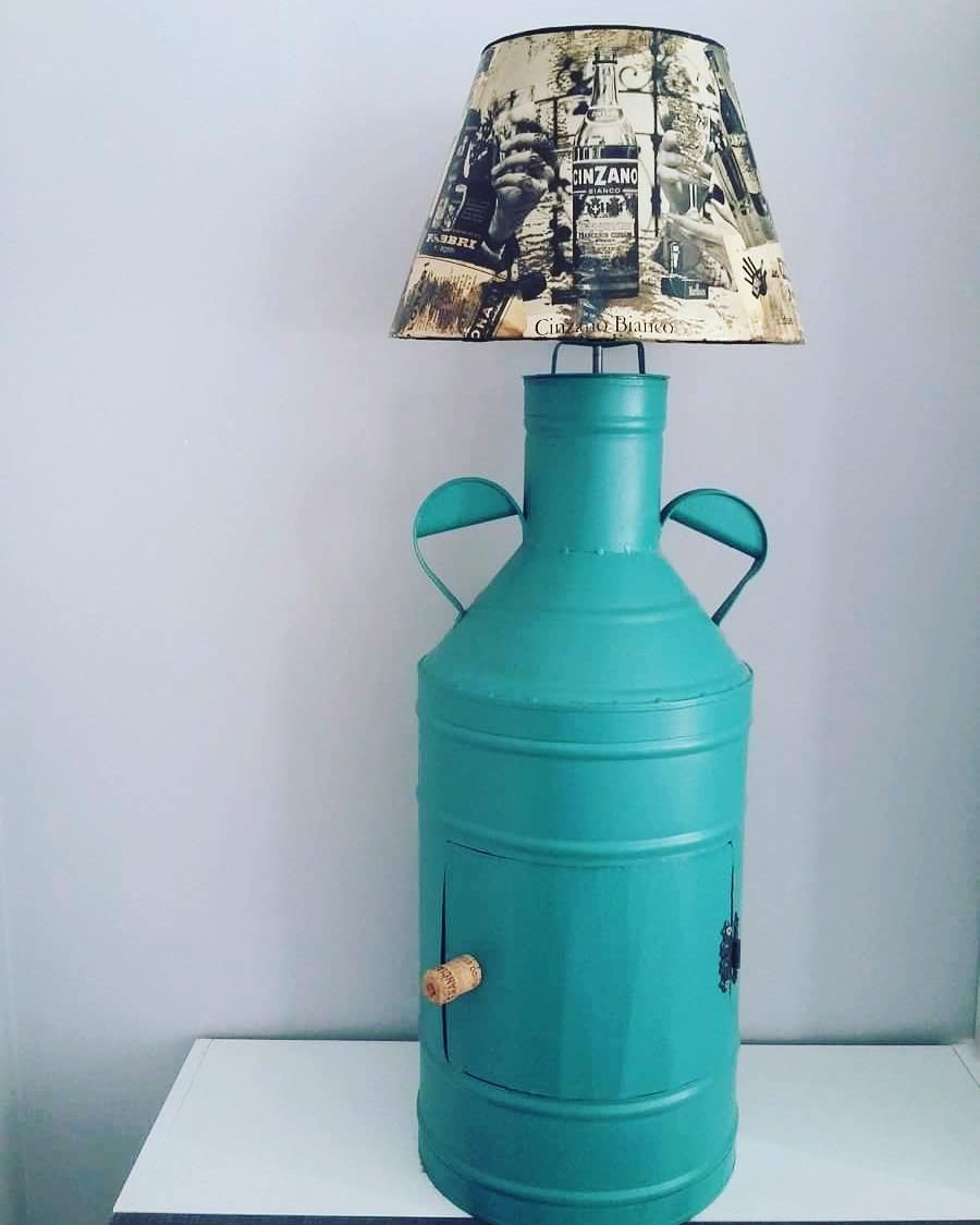 Decoupage Lamp Shade And Milk Can Lamp What An Amazing Idea Credits Thebristolmag Co Uk Decou Decoupage Lamp Decoupage Diy Decoupage Furniture