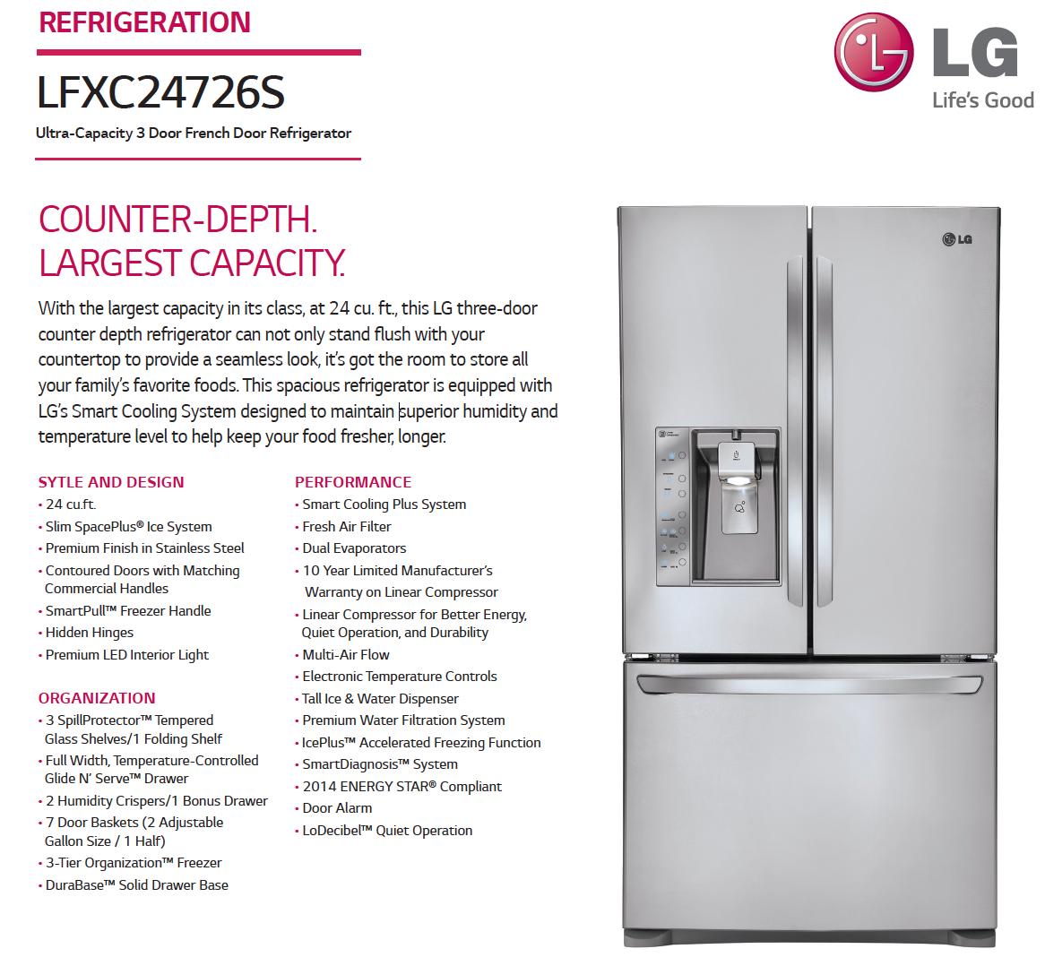 Lfxc24726s | Refrigerator | Counter depth refrigerator