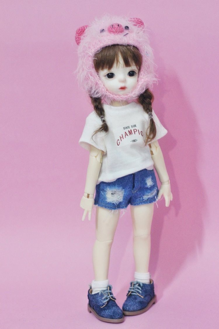 Cute Doll T--shirt Denim Shorts for 1//6 Blythe Dolls Outfit Doll Clothes