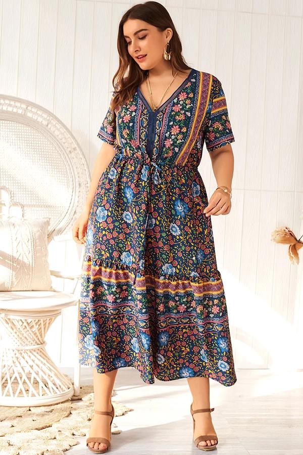 Lace Up Bohemian Summer Dress -   13 dress Summer curvy ideas