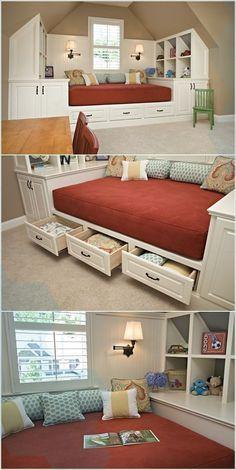 20 Cool Bedroom Storage Design Ideas #Bedroomstorage organization dorm room, bed…