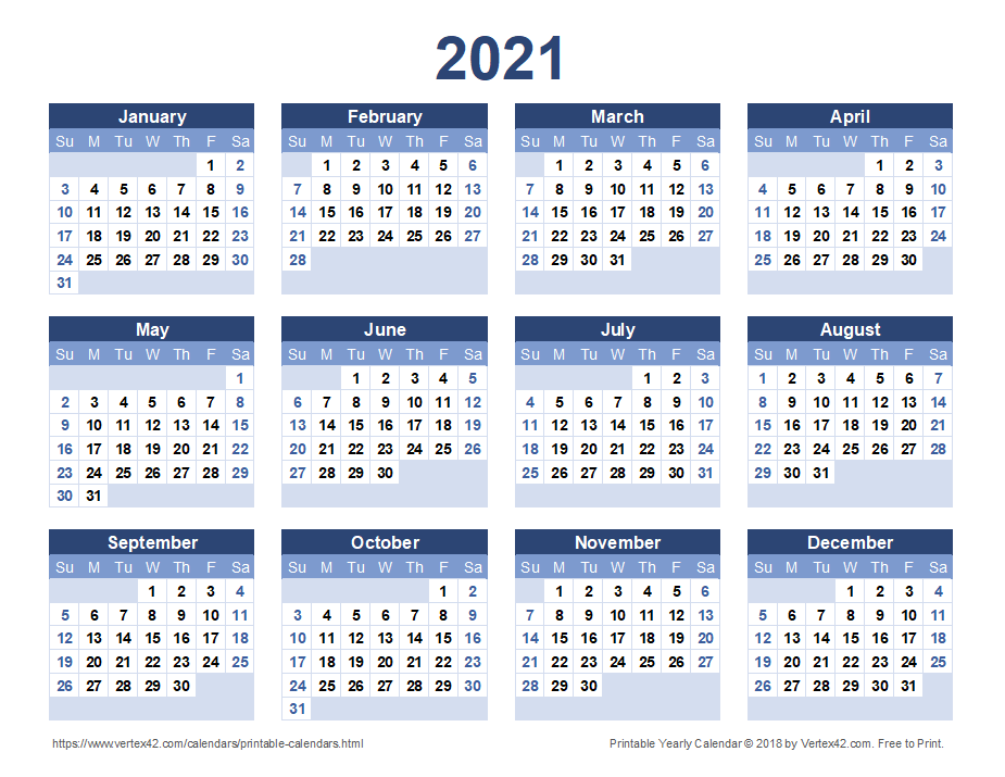 Download A Free Printable 2021 Yearly Calendar From Vertex42 Com In 2020 Printable Yearly Calendar Calendar Printables Yearly Calendar Template