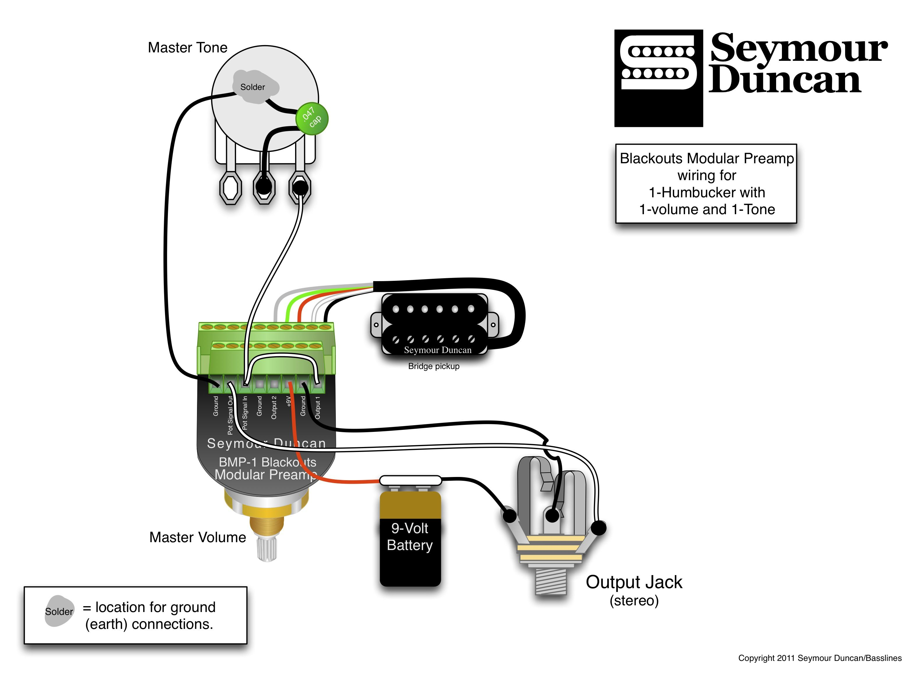 Blackouts Modular Preamp Wiring For 1 Humbucker With Volume And Lipstick Guitar Pickup Diagrams Tone