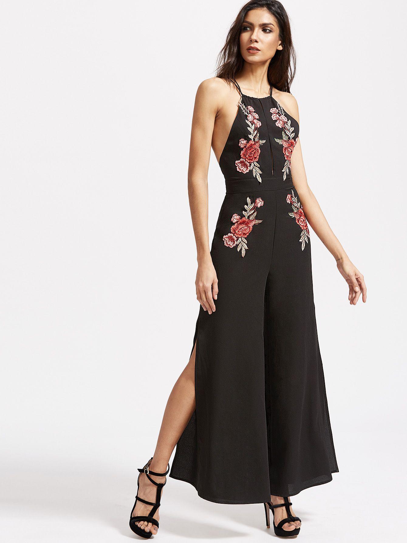 5511be1f4049 Black Embroidered Rose Applique Split Front Crisscross Back Jumpsuit -SheIn( Sheinside)