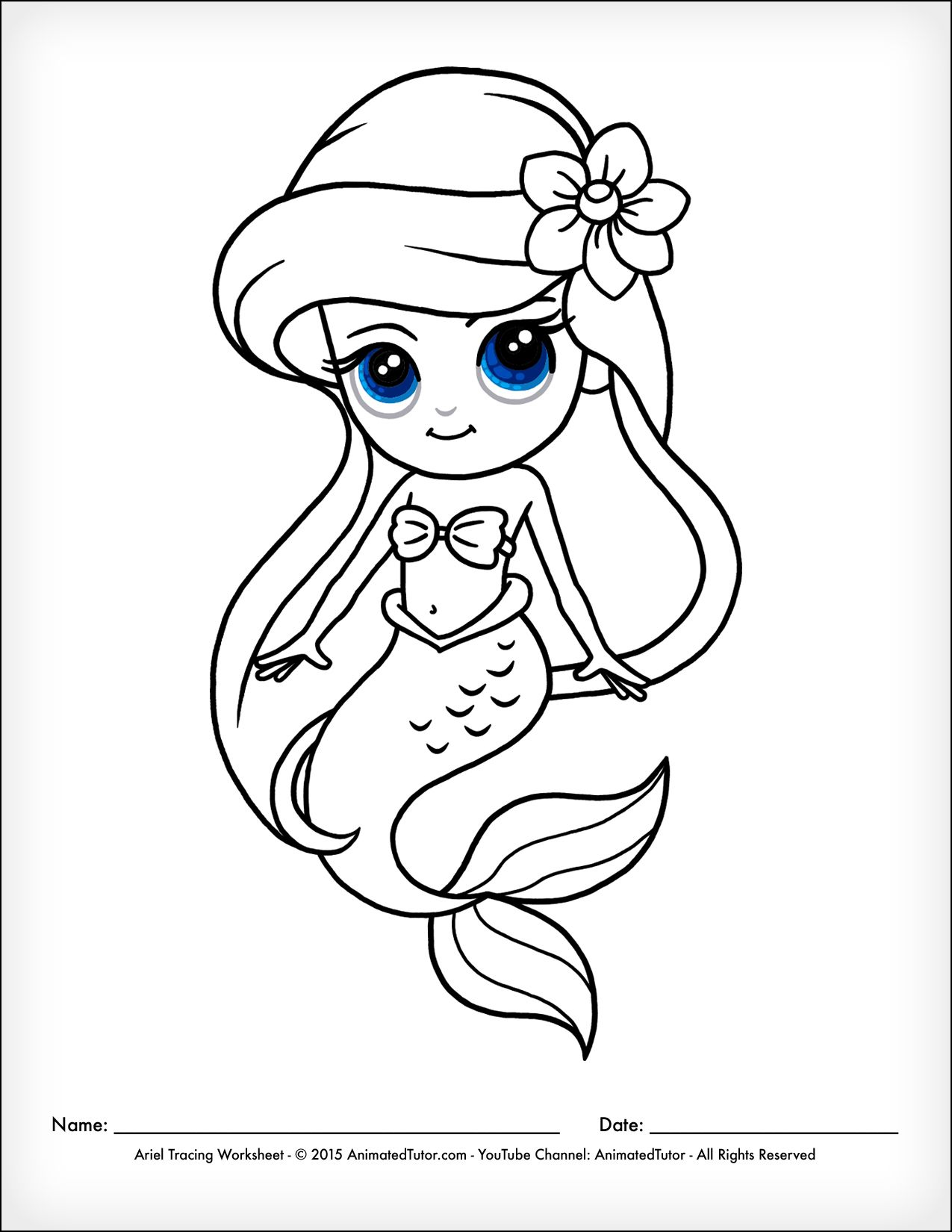 Animatedtutor Com How To Draw A Mermaid Ariel The Little Mermaid Cute And Easy Animatedtutor Mermaid Drawings Mermaid Coloring Pages Easy Mermaid Drawing