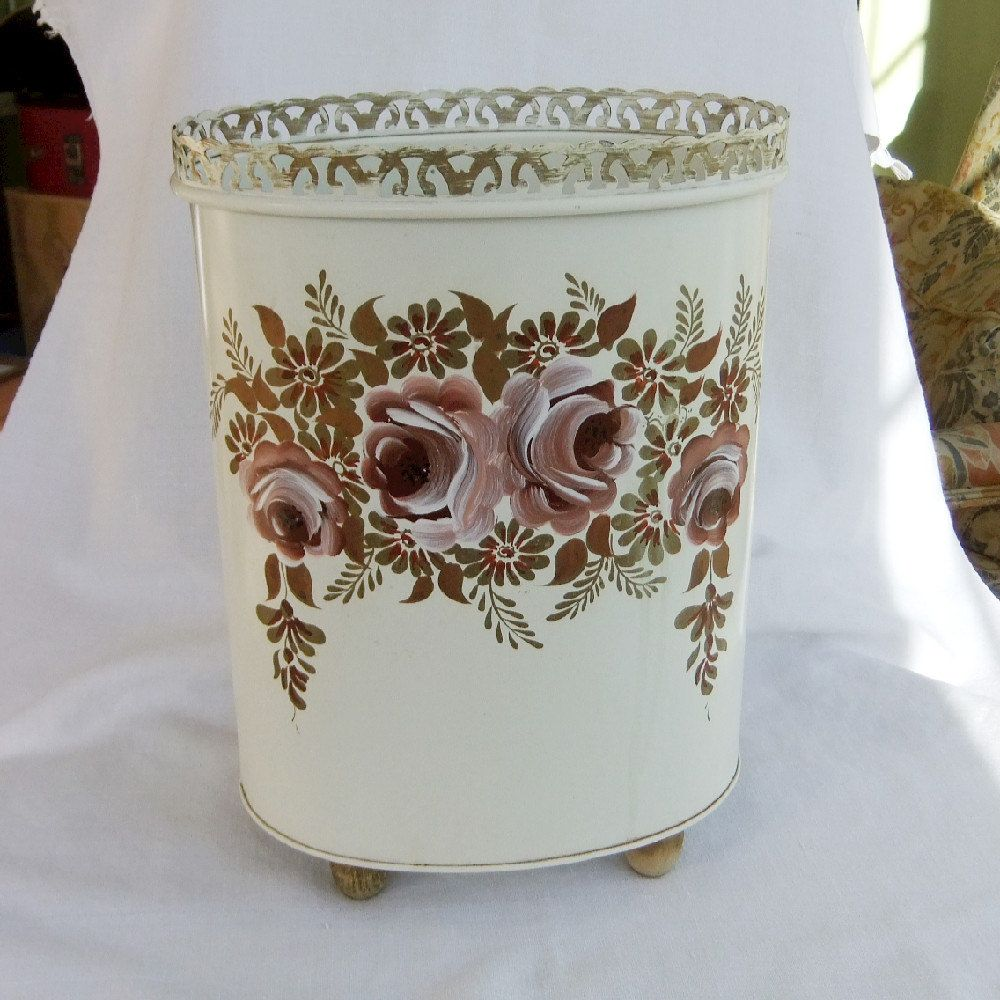 Pottery barn trash can - Metal Tole Painted Trash Can Vintage Vanity Waste Bin Ransburg Vanity Bathroom