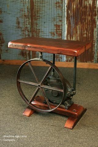 Steampunk Industrial Table Antique Pump Jack Barn Wood 1529