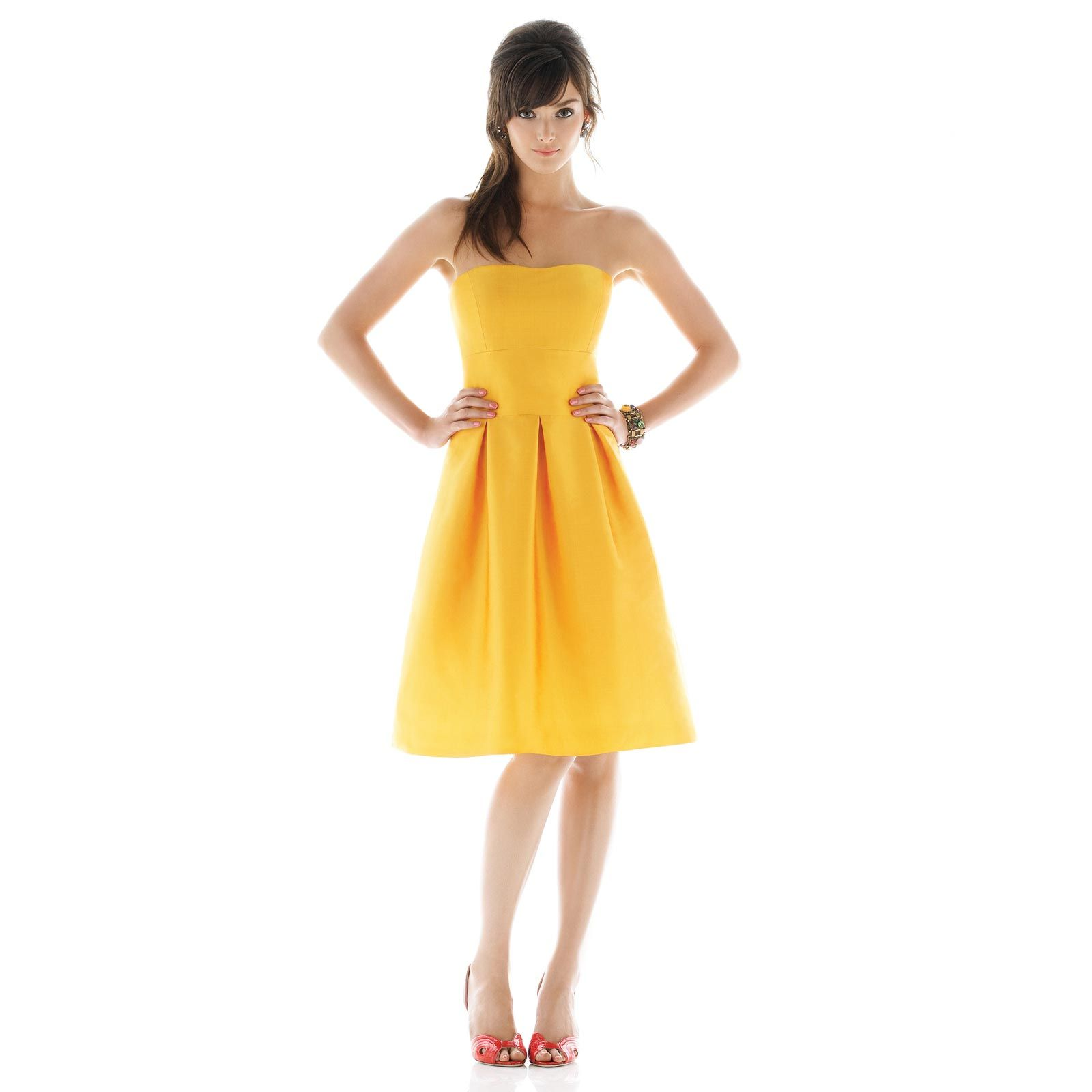 Yellow bridesmaid dresses alfred sung bridesmaid collection
