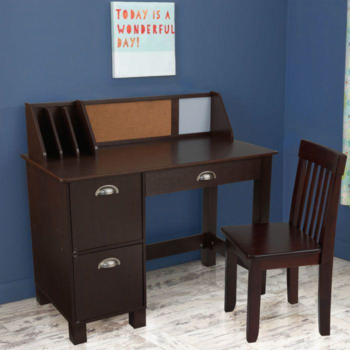 Kid Kraft Study Desk With Side Drawers Espresso