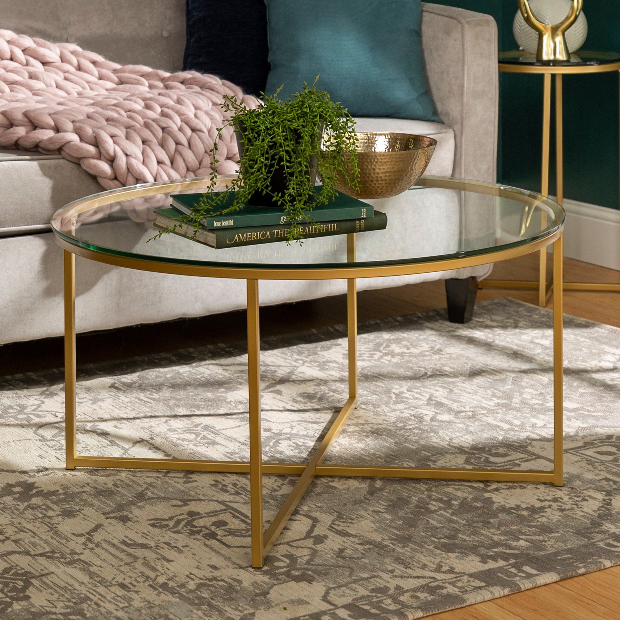 Glass Top 36 Inch Round Coffee Table With Gold Base Round Coffee Table Modern Coffee Tables Home Coffee Tables
