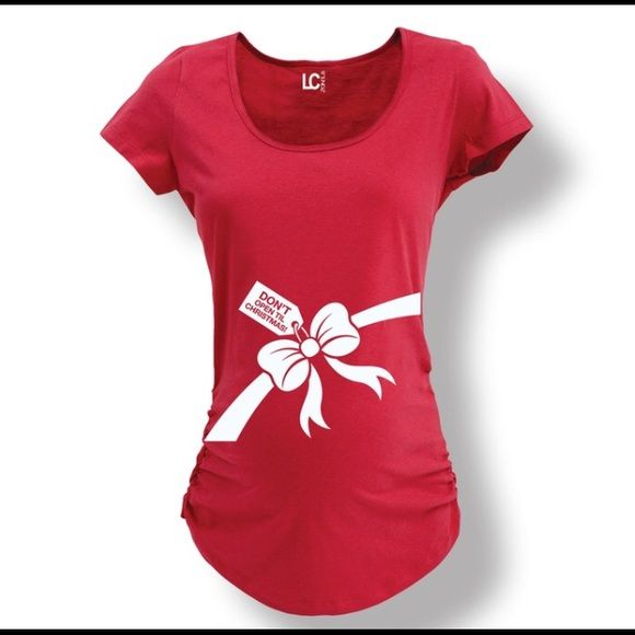 red maternity shirt small very cute red christmas maternity shirt says dont open until christmas worn once size small tops tees short sleeve - Christmas Maternity Shirts