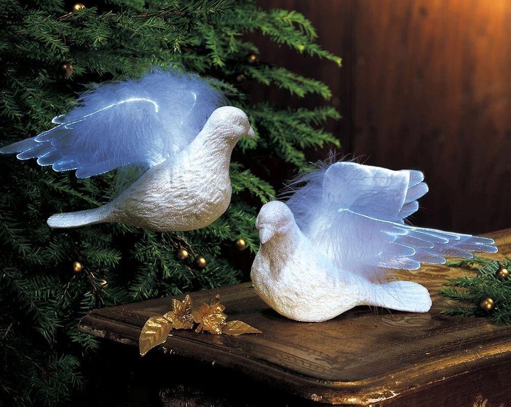 White Fiber Optic Lights Doves Of Peace Figurines