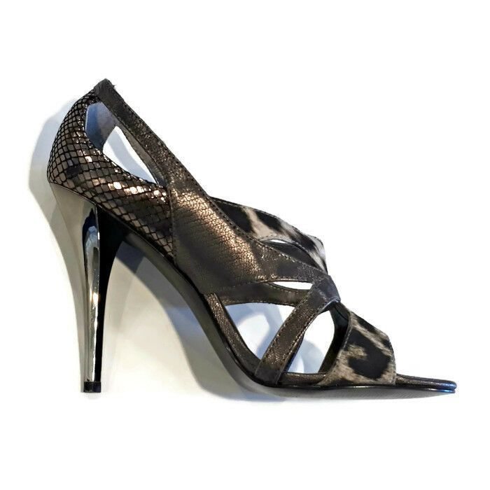 484ef97790f4 GUESS Strappy Heels 6.5 M Shoes Open Toe Pumps Bronze Silver Snake Skin  Leopard #GUESS