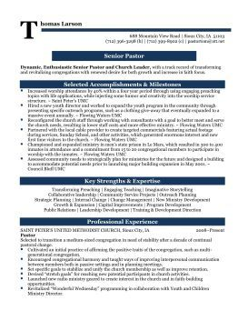 Senior Pastor Professional Resume Sample
