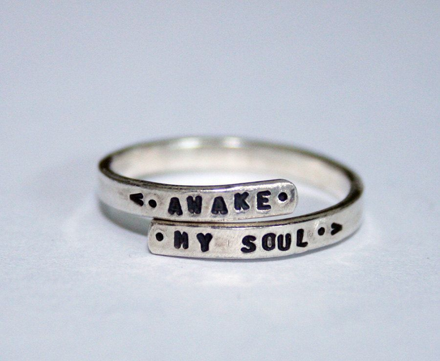 Mumford and Sons handstamped Silver Lyric Ring Awake My Soul