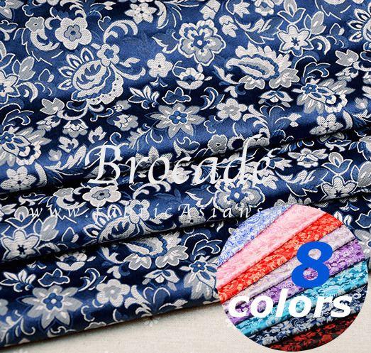 Tissu Chinois Motif Fleurs Sur Fond Bleu Marine Vendu Par 50cm