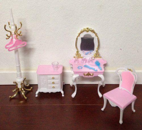 barbie size dollhouse furniture set. Barbie Size Dollhouse Furniture- Gloria Pretty Set With Mirror Table \u0026 Pole Hanger, Http Furniture