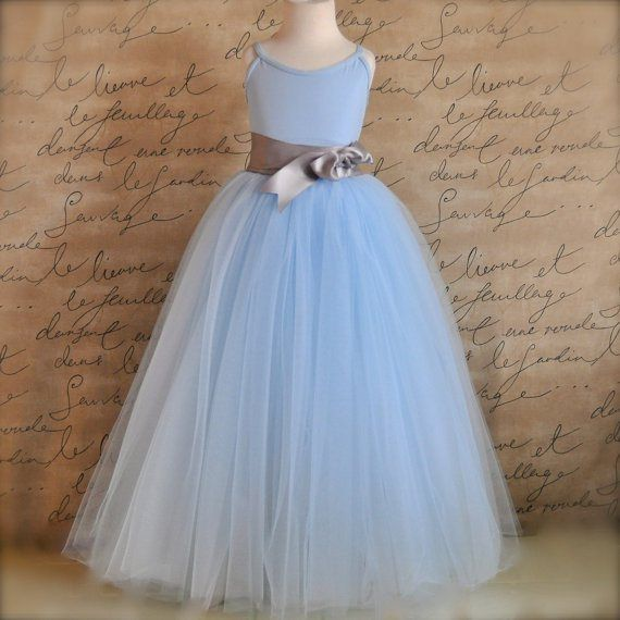 Powder-blue and grey flower girl dress - see more on http://themerrybride.org/2014/05/01/powder-blue-and-grey-wedding/