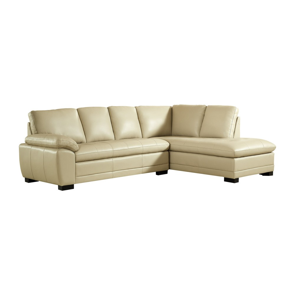 Best Roscoe Leather Sectional Cream Ivory Abbyson 400 x 300