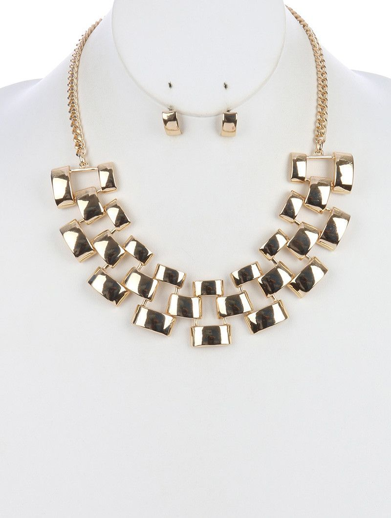 Necklace and earring set layered curved metal bib link chain post