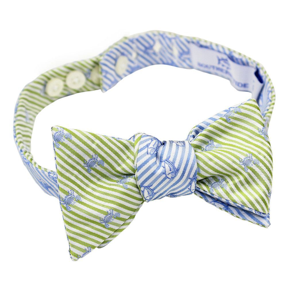 9f5f6c2675c0 Crab/Skipjack Seersucker Bow Tie in Summer Green and Ocean Channel by  Southern Tide