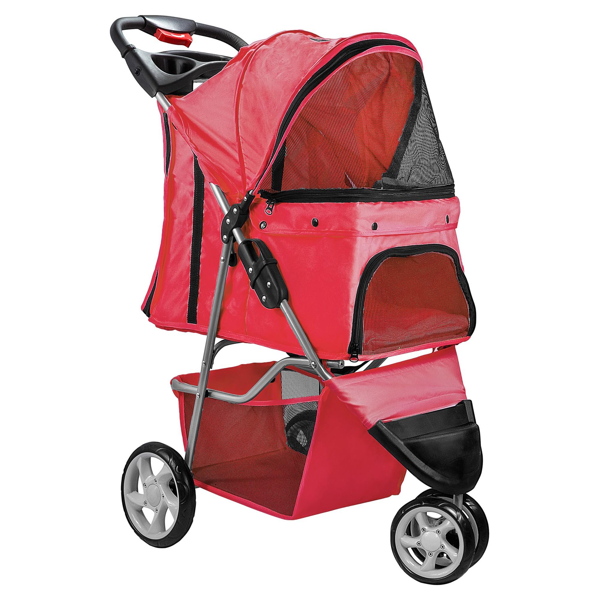 Paws pals 3wheel jogger pet stroller red pet