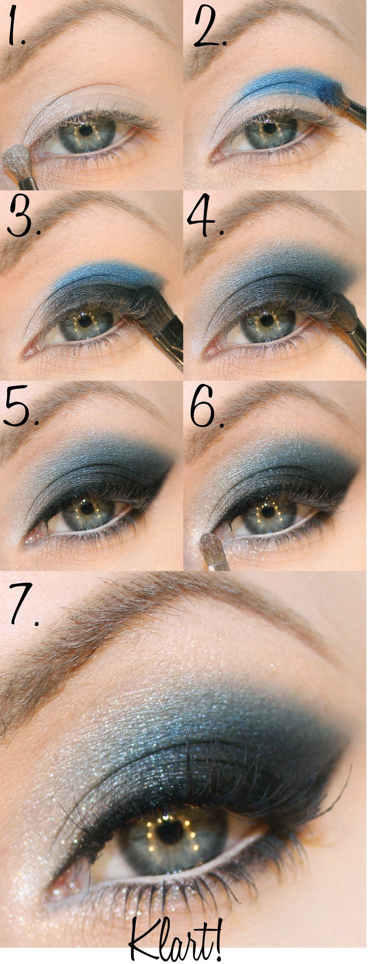 dark blue and silvery New Year makeup step by step New