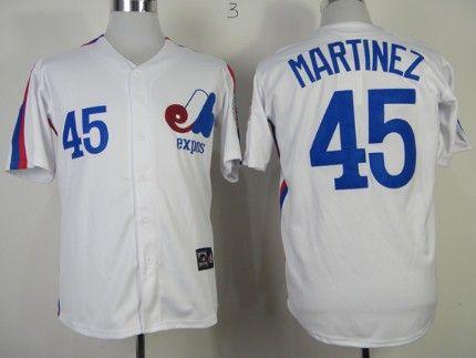 best sneakers ac1a8 4ea58 Montreal Expos #45 Pedro Martinez 1982 White Throwback ...