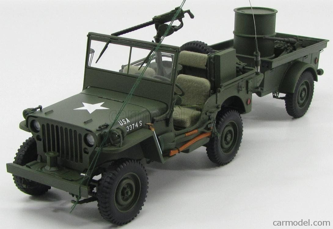Jeep Willys Mb Usa Army 1941 With Trailer