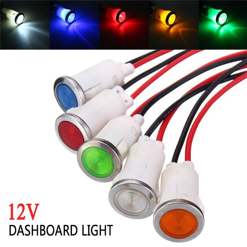 12 5mm Car Truck Boat Yacht Led Indicator Light Signal Light Pilot Dashboard Panel Warning Lamp 12v Red Yellow Blue G Indicator Lights Car Lights Led Indicator