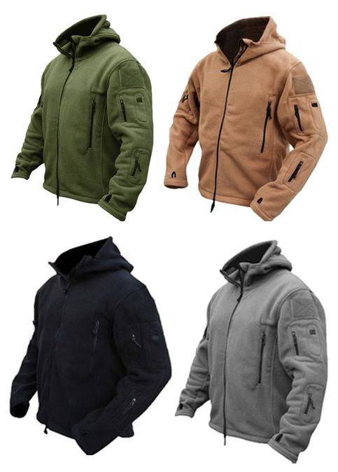 a74602726bd Men Tactical Military Multi-Pockets Fleece Hooded Outdoor Jacket for Winter
