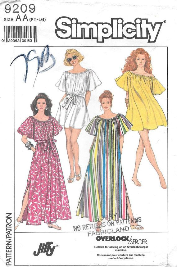 99894947075 Simplicity 9209 UNCUT Misses Muumuu and Beach Cover-up Sewing Pattern