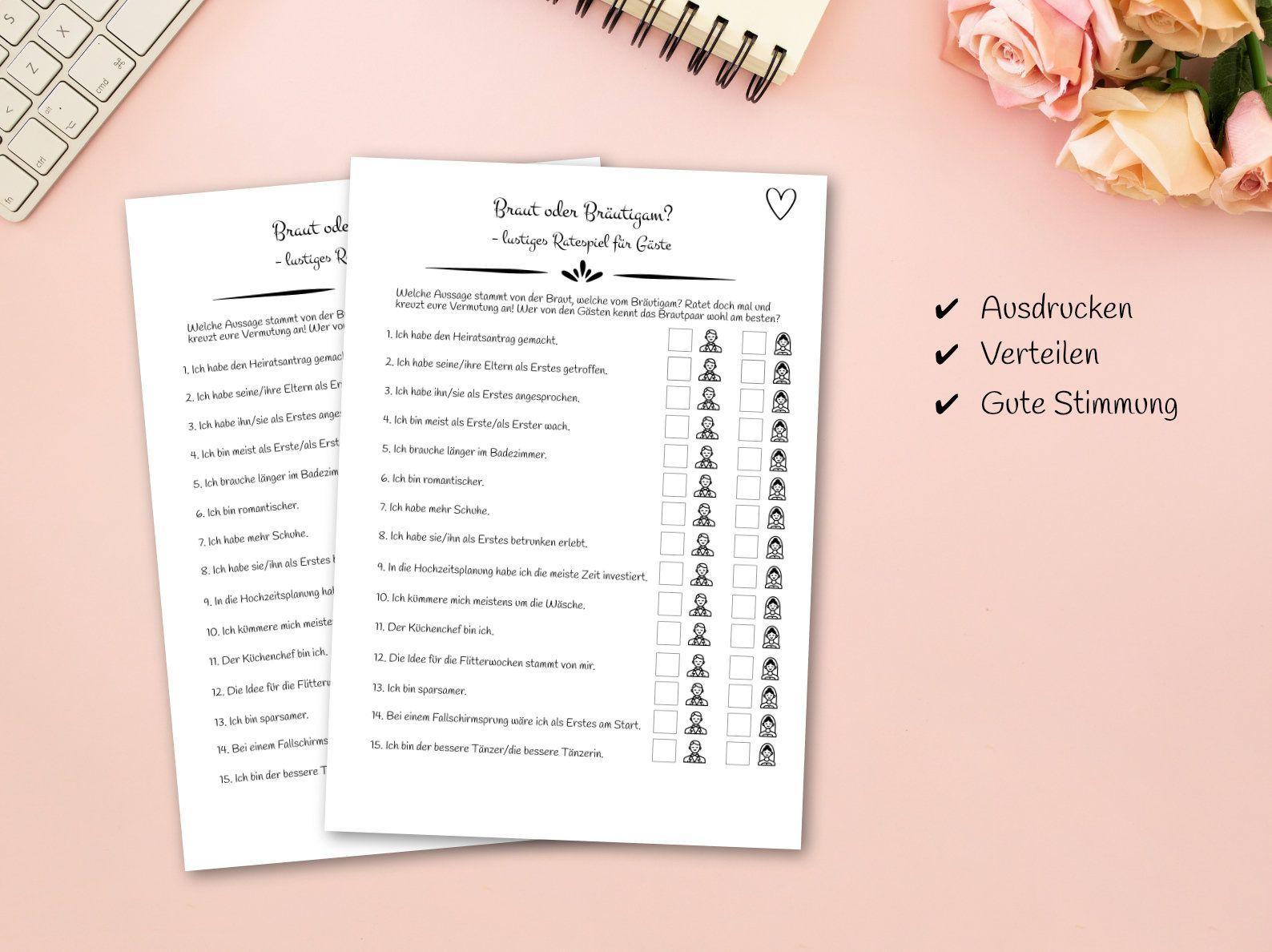 Hochzeitsspiel - Ratespiel für Gäste als PDF zum