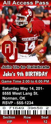 Oklahoma Sooners Football Theme Birthday Party Invitations ...