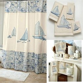 Schooner Nautical Shower Curtain And Bath Accessories By Avanti